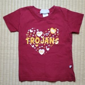 USC Trojans Heart-Glitter-Graphic T-Shirt, 2T
